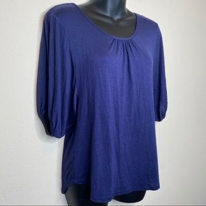 JW Style Blue Peasant Top w Lace Back Size Small